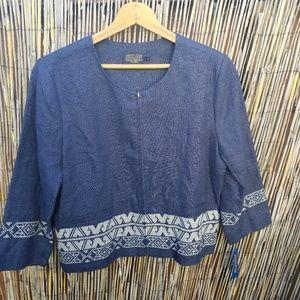 Ladies Pendleton Zip Up Blouse Shirt Size L